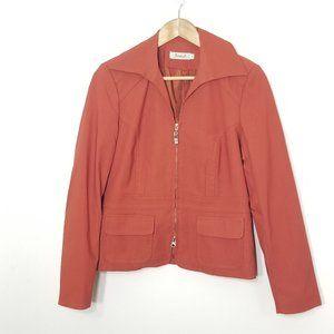 Jessica   Orange Double Zip Blazer Jacket Lined 4